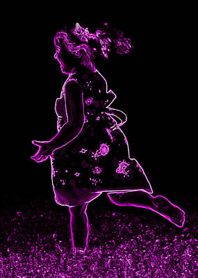 Neon Girl Playing Poster by Sheila Kay McIntyre