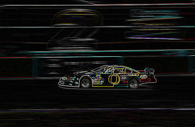 Neon Nascar Poster by Tyra  OBryant
