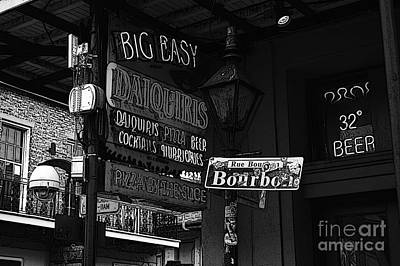 Neon Sign Bourbon Street Corner French Quarter New Orleans Black And White Poster Edges Digital Art Poster