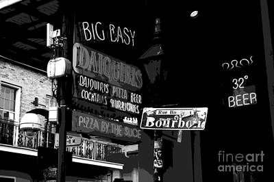 Neon Sign On Bourbon Street Corner French Quarter New Orleans Black And White Cutout Digital Art Poster