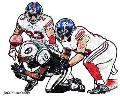 New York Giants Michael Boley And Corey Webster New York Jets Santonio Holmes Poster