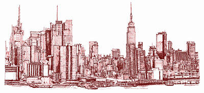 New York Maroon Ink Poster by Building  Art