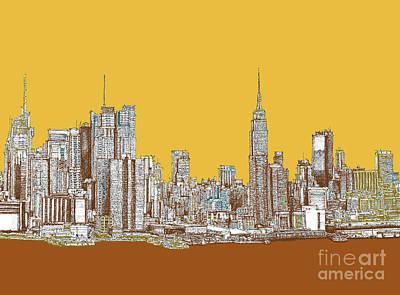 New York Mustard Sepia Poster