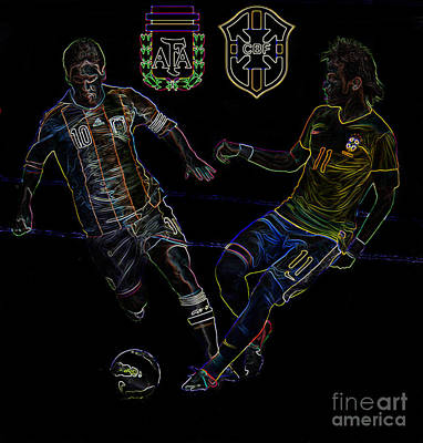 Neymar And Lionel Messi Clash Of The Titans Neon Poster by Lee Dos Santos