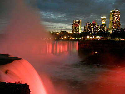 Poster featuring the photograph Niagara Falls At Night by Mark J Seefeldt