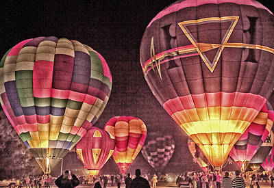 Night Balloon Lighting Poster by James Bethanis
