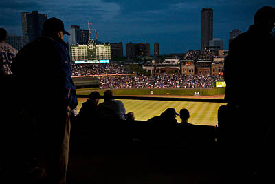 Night Game At Wrigley Field Poster