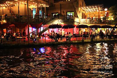Night Glow On River Walk Poster by Carol Groenen