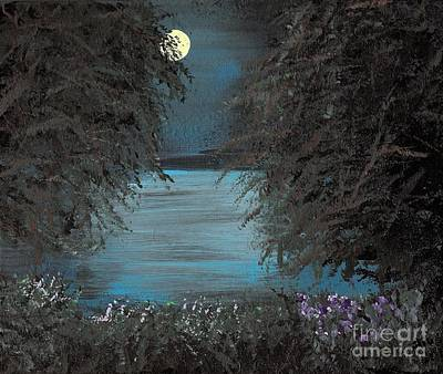 Poster featuring the painting Night In The Bayou by Alys Caviness-Gober