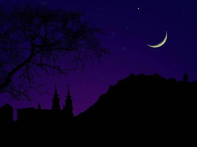 Night View Of Graz Poster