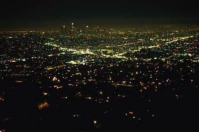 Night View Of Los Angeles City Lights Poster