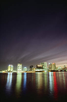Night View Of The New Orleans Skyline Poster