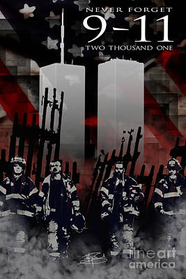 Nine Eleven Memorial 2011 Poster by Michael Figueroa