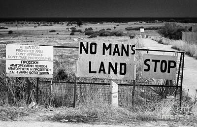 no mans land and restricted area of the UN buffer zone in the green line dividing cyprus Poster
