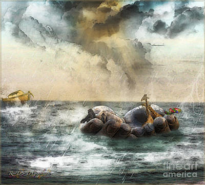 Noah's Ark Stragglers Poster by Rhonda Strickland