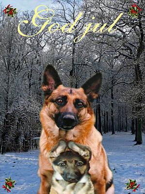 Norwegian  Christmas Holiday German Shepherd And Puppy God Jul Poster