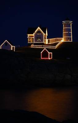 Nubble Light Aglow Poster by Rose Pasquarelli