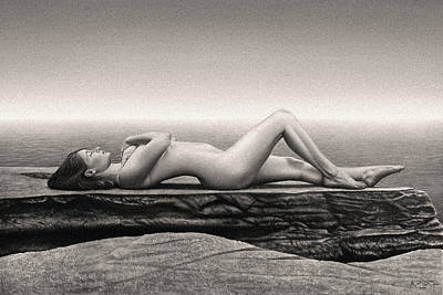 Nude Female On Beach Poster