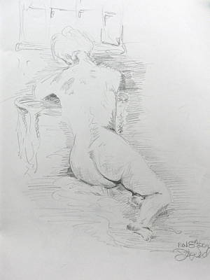 Nude In Front Of Table And Window Poster