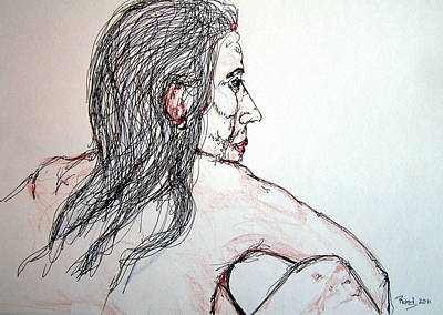 Poster featuring the drawing Nude Sitting by Rand Swift