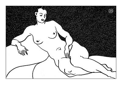Nude Sketch 63 Poster by Leonid Petrushin