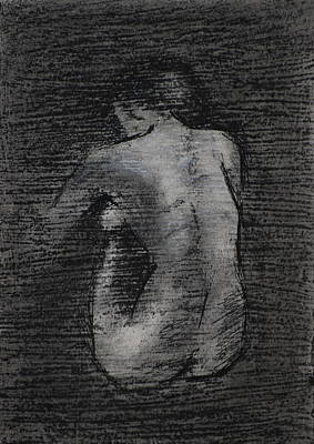 Poster featuring the drawing Nude Study....miniature by Lynn Hughes