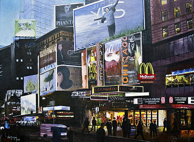 Poster featuring the painting Ny Ny At Dusk by Stuart B Yaeger