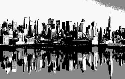 Nyc Reflection Bw3 Poster by Scott Kelley
