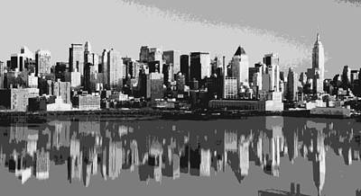 Nyc Reflection Bw6 Poster by Scott Kelley