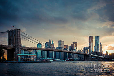 Nyc Skyline In The Sunset V1 Poster