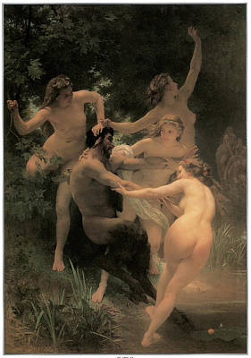Nymphs And Satyr Poster by Adolphe William Bouguereau