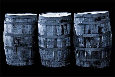 Oak Barrel Cynotype Blue Poster