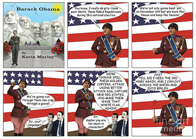 Obama As Patton  Poster by Kevin  Marley
