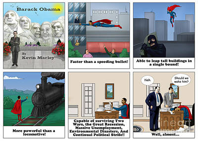 Obama As Superman Poster by Kevin  Marley