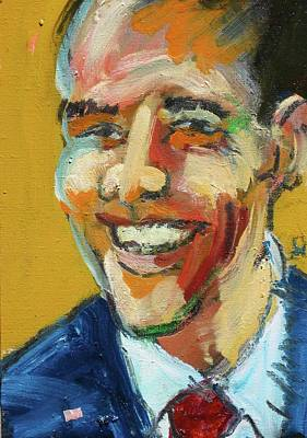 Poster featuring the painting Obama by Les Leffingwell