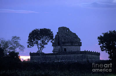 Poster featuring the photograph Obervatory At Sunset Chichen Itza Mexico by John  Mitchell