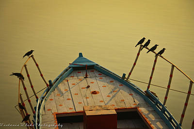 Occupied Boat On Ganges Poster