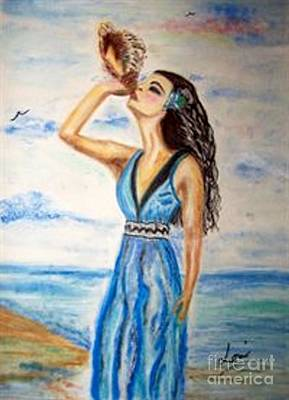 Poster featuring the drawing Ocean Dreams by Lori  Lovetere