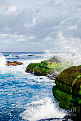 Ocean Wave Breaks On La Jolla California's Pacific Coast Poster by Susan McKenzie