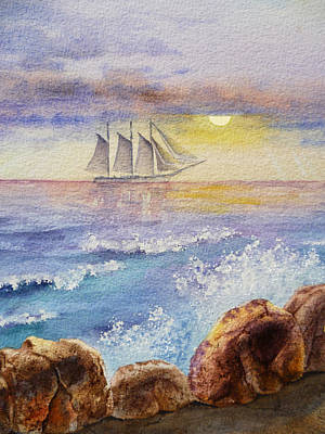 Ocean Waves And Sailing Ship Poster