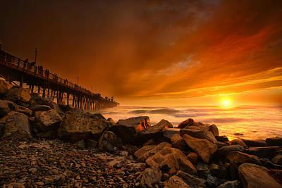 Oceanside Sunset 4 Poster by Larry Marshall