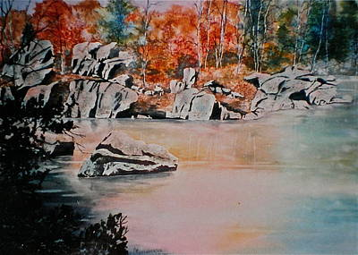 Poster featuring the painting October On The Little Wolf River by Carolyn Rosenberger
