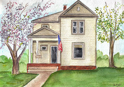 Poster featuring the painting Ohio Cottage With Flag by Clara Sue Beym