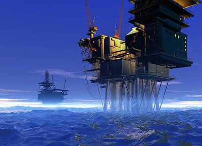 Oil Rigs, Artwork Poster by Victor Habbick Visions