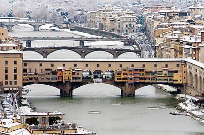 Old Bridge Under Snow Poster