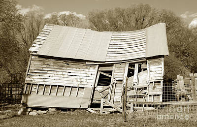 Old Collapsed Barn - Wasatch Mountains Poster by Gary Whitton