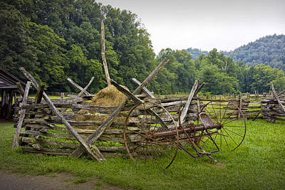 Old Farm Machinery And Split Rail Fence On A Farm In The Smokey Mountains Poster
