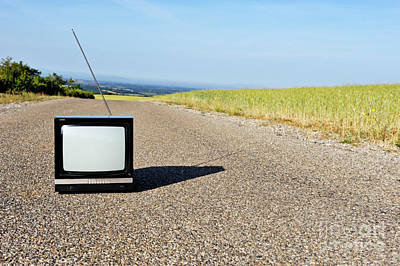 Old Fashioned Tv On Empty Countryside Road Poster by Sami Sarkis