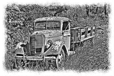 Old Ford Flatbed Bw Poster