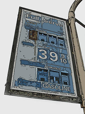 Old Full Service Gas Station Sign Poster